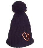 Show Love Black Bubble Wooly Hat With Orange Heart