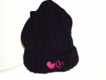 Show Love Black Wooly Hat With Hot Pink