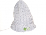 Show Love Light Grey Wooly Hat with Lime Green