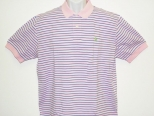 Ralph Lauren Mens Pink and Blue Stripe Polo