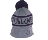 Show Love Grey Winter Bubble Beanie
