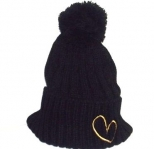 Show Love Black and Gold Bubble Wooly Hat