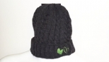 Show Love Dark Grey and Lime Green Heart Wooly Hat