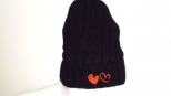 show Love Black and Orange Heart Wooly Hat