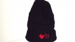 Show Love black and Red Heart Wooly Hat