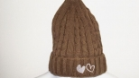 Show Love Brown and White Heart Wooly Hat